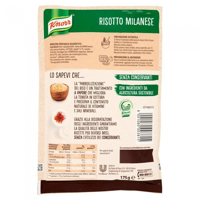 'RISOTTO KNORR MILANESE GR.175'